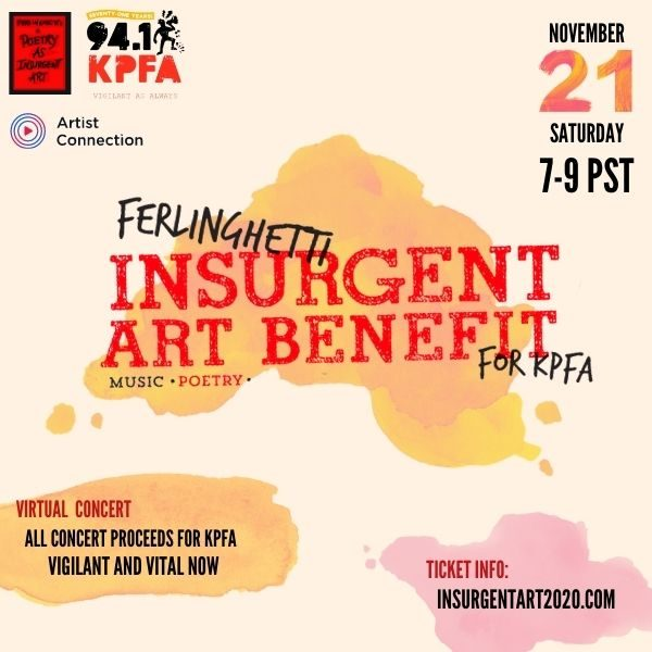 Ferlinghetti Insurgent Art Benefit for KPFA poster
